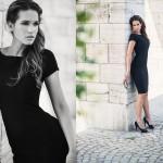 schwarzes kleid und frisur